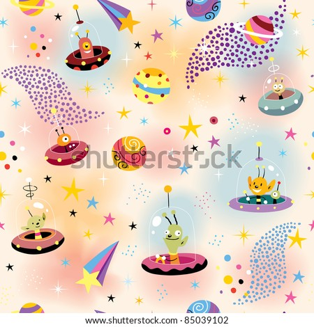 cute aliens in space pattern