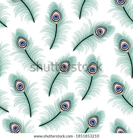 cute all over seamless floral green peacock stock pattern of white Foto stock ©