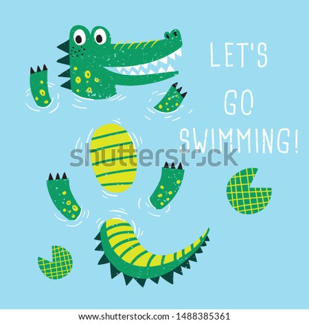 cute alligator drawing as vector for print