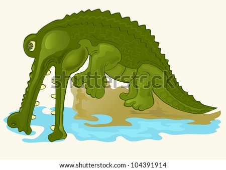 cute alligator on river background