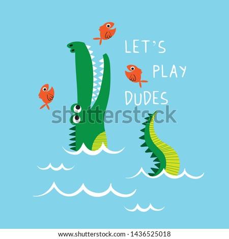 cute alligator vector drawn for kids fashion tee print