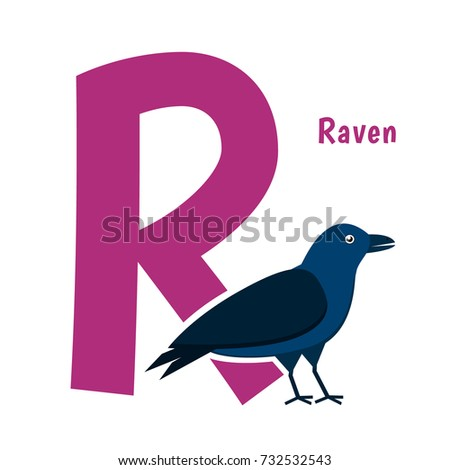 Cute Alphabet Letter with Birds. Raven - R. Learn to read, education for children.