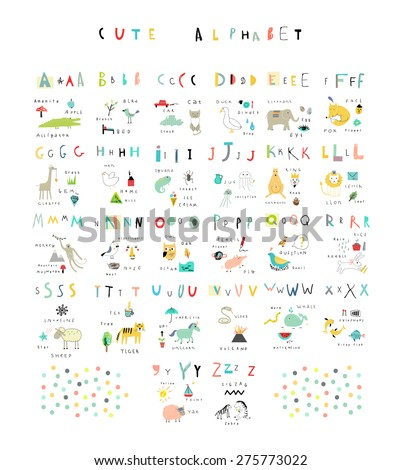 cute alphabet letters and