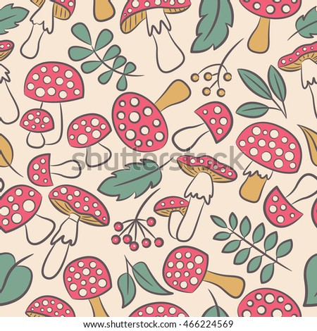 cute amanita vector seamless