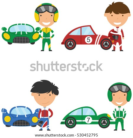 Cute and bright racing drivers and sport cars.  Vintage cars and boys isolated on white background.
