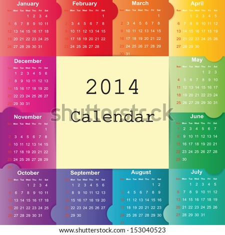Cute and colorful calendar on 2014 year
