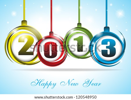 Cute and colorful card on New Year 2013. Clip-art