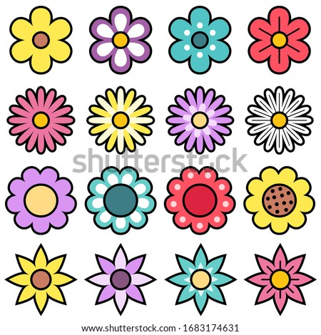 Cute and Colorful Flower Vector Illustration Set on White