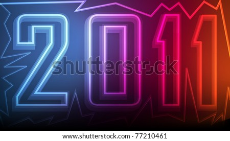 Cute and colorful 2011 neon New Years sign logo