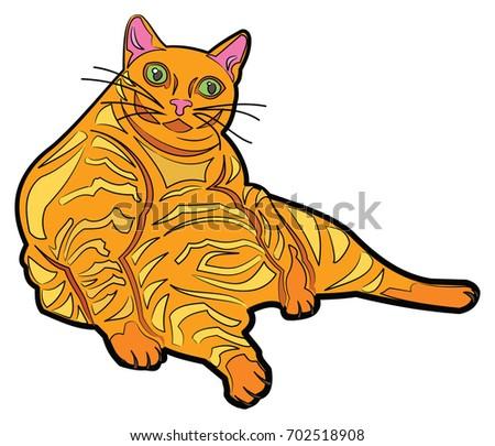 Download Colourful Cat Wallpaper 240x320 | Wallpoper #93788 Tabby Cat Cartoon Drawing