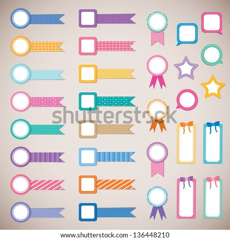 cute and colorful ribbon label for scrapbook and photo album design