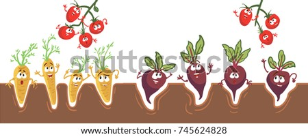 Cute and funny beets, carrots, tomatoes characters with human face showing different emotions, cartoon vector illustration isolated on white background.