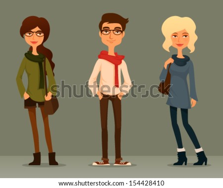 cute and funny cartoon illustration of young people with hipster fashion