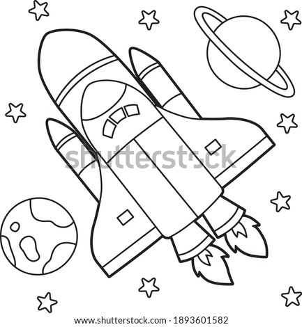 Cute and funny coloring page of a rocket. Provides hours of coloring fun for children. To color this page is very easy. Suitable for little kids and toddlers. Stock photo ©