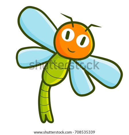 cute and funny dragonfly flying