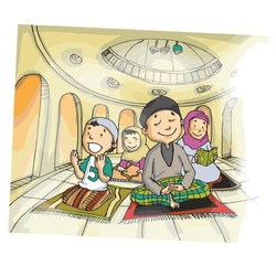 Cute and funny family praying in muslim way - vector.