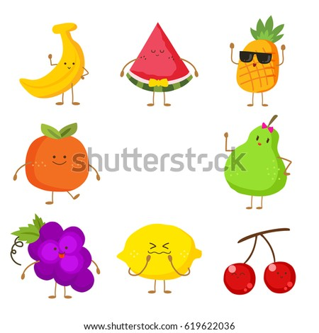 cute and funny fruit set