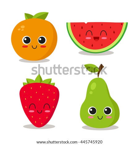 cute and funny fruits set