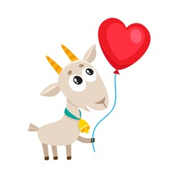 Cute and funny goat holding red heart shaped balloon, cartoon vector illustration isolated on white background. Baby goat holding heart balloon, birthday greeting decoration