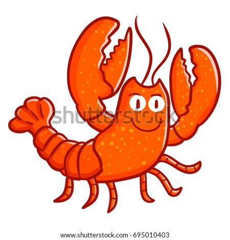 cute and funny lobster walking