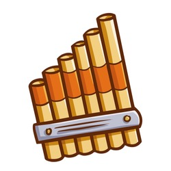 Cute and funny pan flute for musical performance - vector