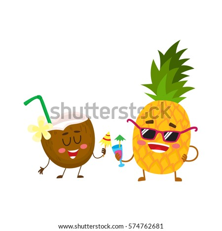 Cute and funny pineapple and coconut characters drinking cocktails, having fun, cartoon vector illustration isolated on white background. Funky pineapple and coconut characters enjoying vacation