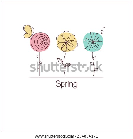 cute and funny stylized flowers