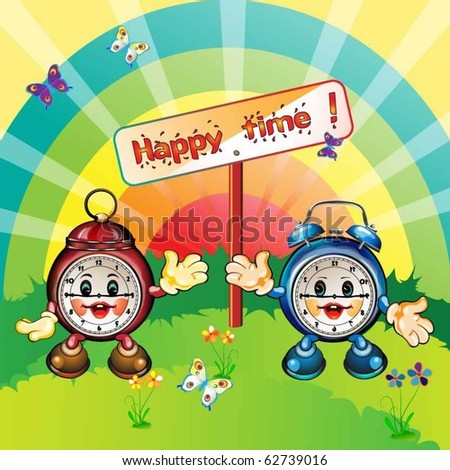 cute and happy cartoon clocks,  park outdoor, card illustration