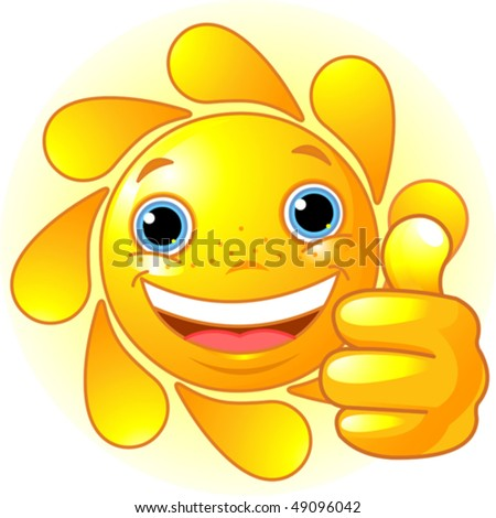 smiley sun face. happy Sun with hand giving