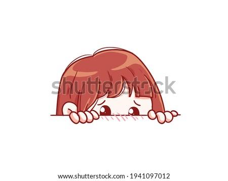 Cute and kawaii Shy Girl Hiding Manga Chibi Illustration