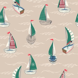 Cute and retro  Summer Seamless pattern in vector hand drawn boat on the ocean  design for fashion,fabric,web,wallpaper,and prints on light beige background color