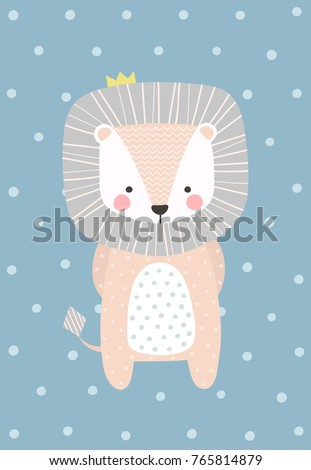 cute and shy baby lion vector