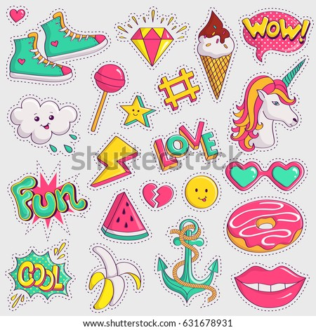 Cute and trendy patches. Colorful stickers on white background. Vector collection.