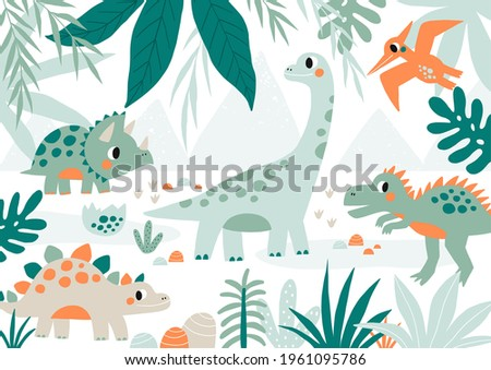 Cute and wild - Adorable DINO. Cartoon illustration dinosaur for children. Vector print with cute dino in flat style Stock foto ©