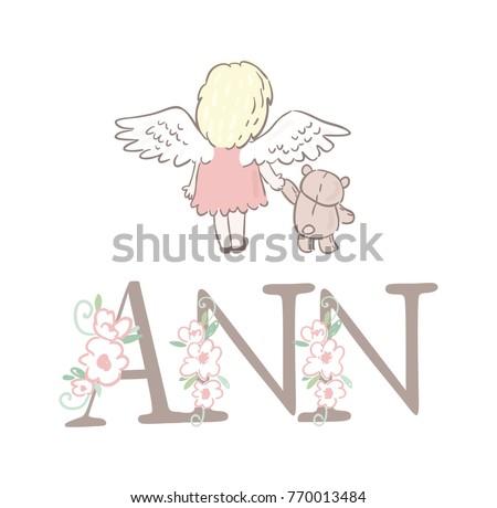 cute angel and teddy