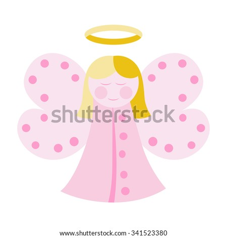 cute angel in pink clothes