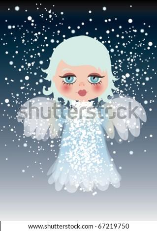 cute angel on snow