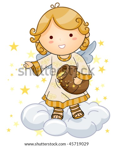 Cute Angel sprinkling Stars - Vector - stock vector