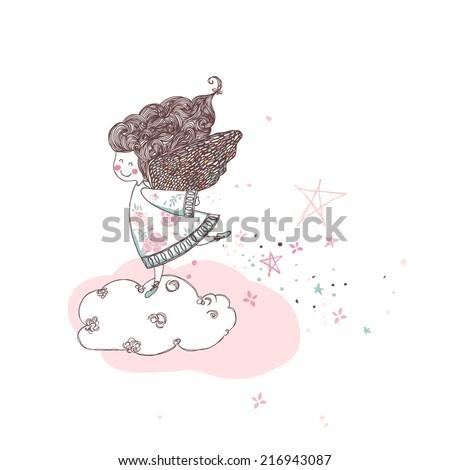 cute angel walking on a cloud