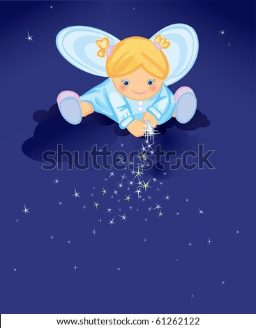 Cute angel with stars