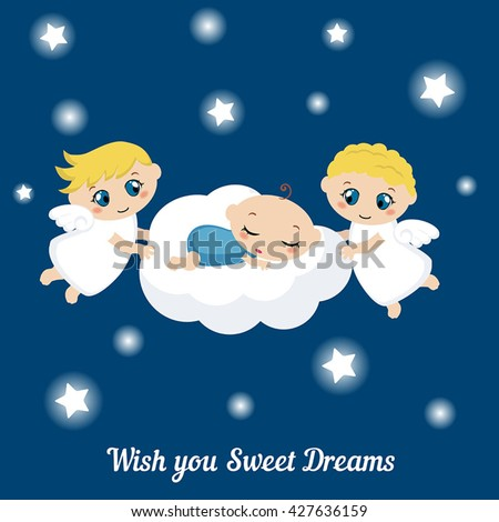 cute angels with stars and baby