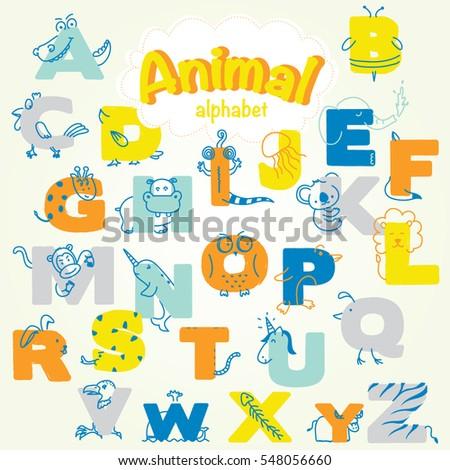 cute animal alphabet a to z