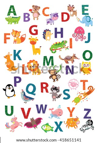 English Alphabet Poster Nursery Wall Art Animal Themed Kids Decor Gender Neutral ABC Childrens Cute Vector