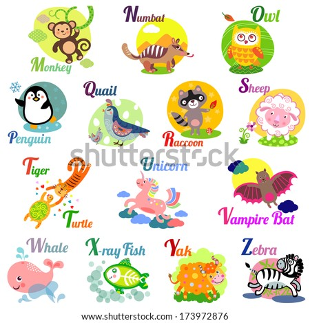 Cute animal alphabet for ABC book. Vector illustration of cartoon animals. M, n, o, p, q, r, s, t, u, v, w, x, y, z letters