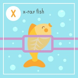 Cute animal alphabet for ABC book. Vector illustration of cartoon animals. X-ray fish at the doctor's appointment, makes an x-ray.