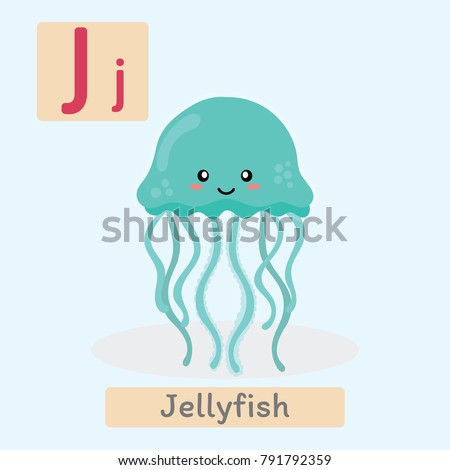 cute animal alphabet j letter