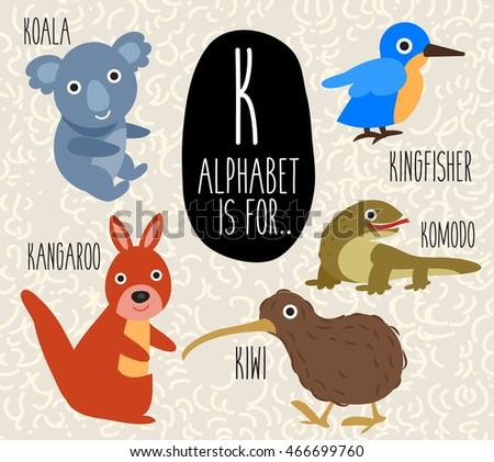 cute animal alphabet set