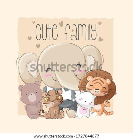 cute animal big family