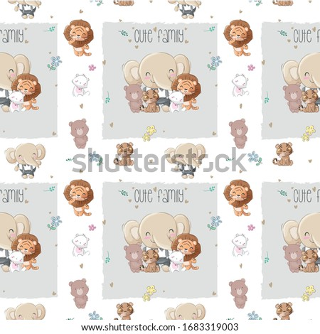 cute animal big family with