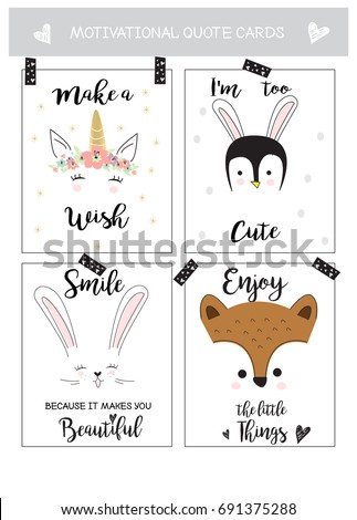 Cute animal cards with motivational quotes in vector
